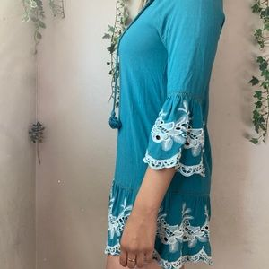 Forever 21 Teal Embroidered Mini Dress